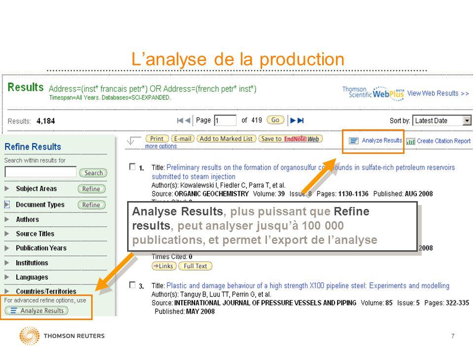 7 Lanalyse de la production Analyse Results, plus puissant que Refine results, peut analyser jusquà 100 000 publications, et permet lexport de lanalys