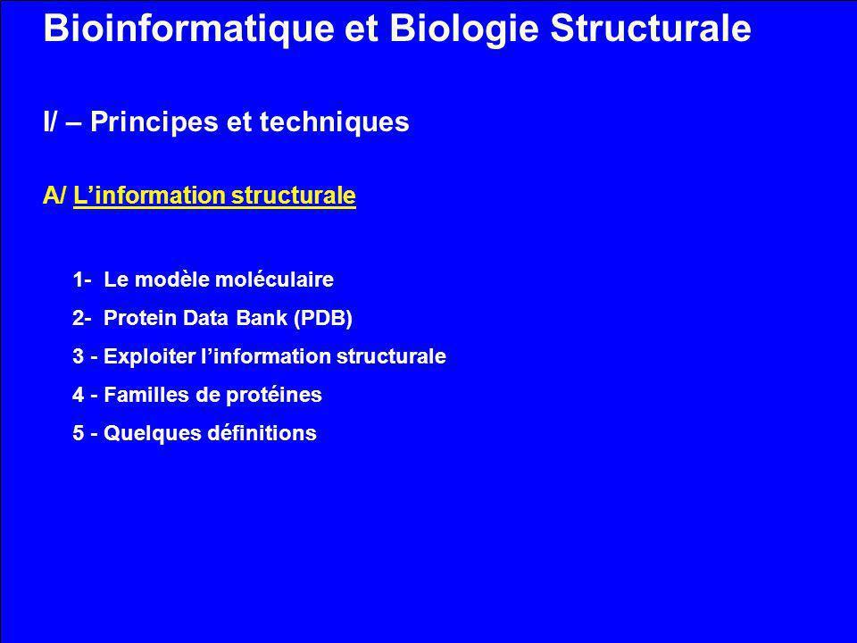 Bioinformatique et Biologie Structurale I/ – Principes et techniques A/ Linformation structurale 1- Le modèle moléculaire 2- Protein Data Bank (PDB) 3