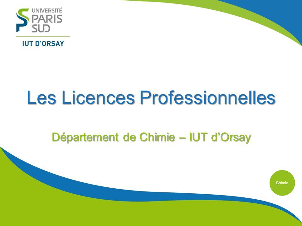 Les Licences Professionnelles Département de Chimie – IUT dOrsay