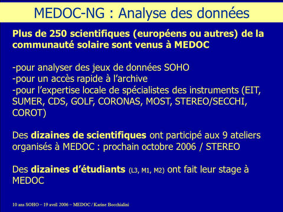 10 ans SOHO – 19 avril 2006 – MEDOC / Karine Bocchialini Actuellement SOHO : 2,1 To (10 ans de données) – toujours opérationnel TRACE : 1,2 To – toujours opérationnel CORONAS-F (SPIRIT) : 70 Go - opérations terminées De MEDOC à MEDOC-NG : Archive A venir MOST (publiques) : en cours STEREO (mi-2006) : ~4 Gbits/jours, ~400 Go sur 2 ans COROT (mi-2006) : 400 Mo/jour, ~1 To sur 3 ans PICARD (archivage à MEDOC en discussion) : ~4 To sur 3 ans SDO (2008) : 12 Tbits/jour, 1/3 des 5600 To sur 10 ans .