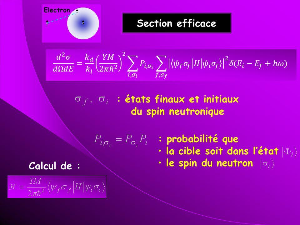 Section efficace : états finaux et initiaux du spin neutronique : probabilité que la cible soit dans létat le spin du neutron Calcul de : Electron