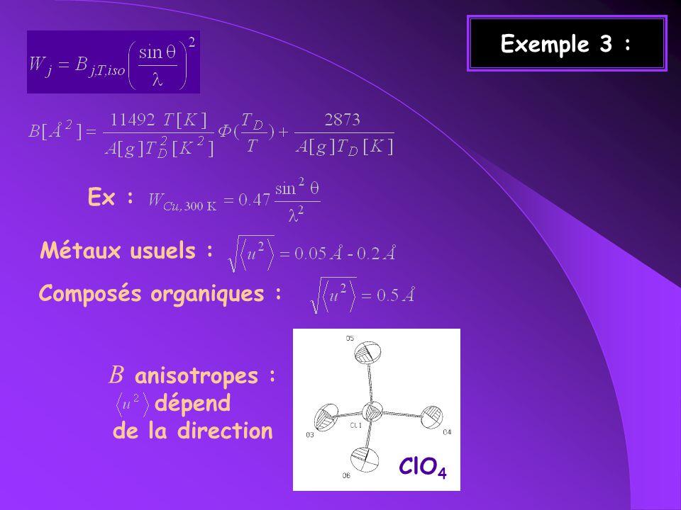 Exemple 3 : Métaux usuels : Composés organiques : Ex : B anisotropes : dépend de la direction ClO 4