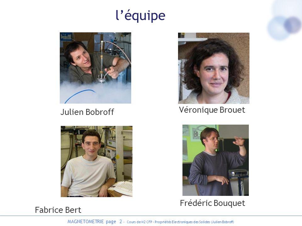 MAGNETOMETRIE page 2 - Cours de M2 CFP - Propriétés Electroniques des Solides (Julien Bobroff) léquipe Julien Bobroff Frédéric Bouquet Fabrice Bert Vé