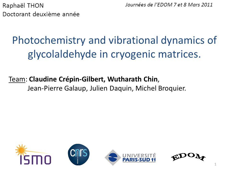 Atmospheric interest Astrophysic interest Sugar model C n H 2n O n Fundamental studies.