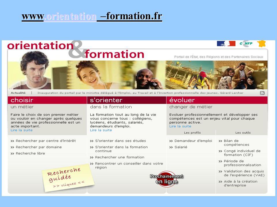 www.orientation –formation.fr.orientation