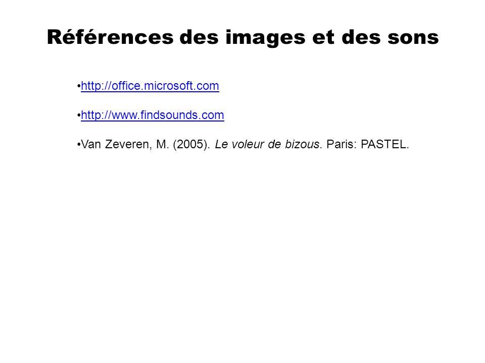 Références Van Zeveren, M. (2005). Le voleur de bizous. Paris: PASTEL.