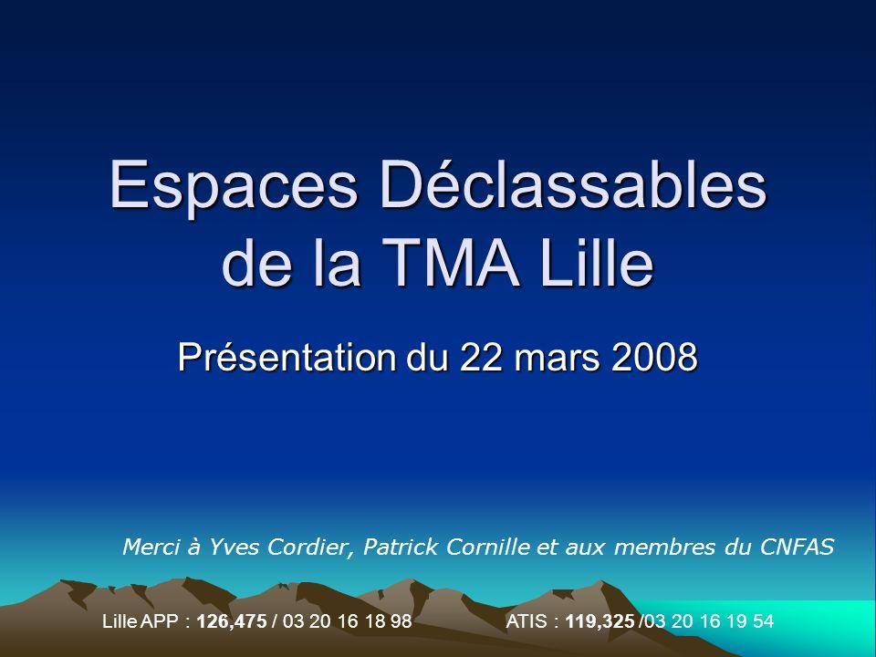 Lille APP : 126,475 / 03 20 16 18 98 ATIS : 119,325 /03 20 16 19 54 Espaces Déclassables de la TMA Lille Présentation du 22 mars 2008 Merci à Yves Cor