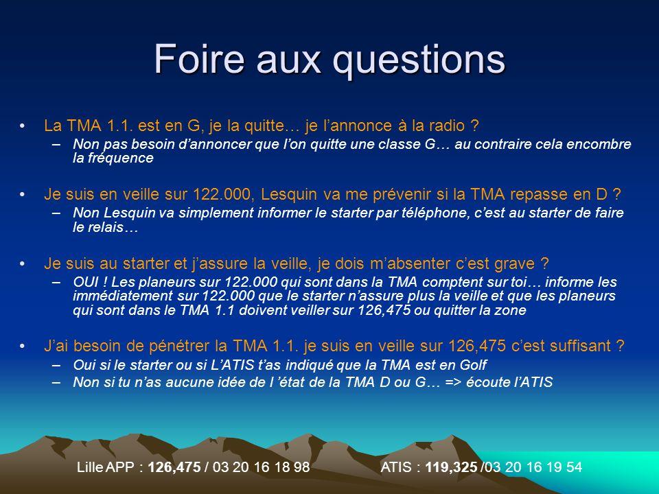 Lille APP : 126,475 / 03 20 16 18 98 ATIS : 119,325 /03 20 16 19 54 Foire aux questions La TMA 1.1. est en G, je la quitte… je lannonce à la radio ? –