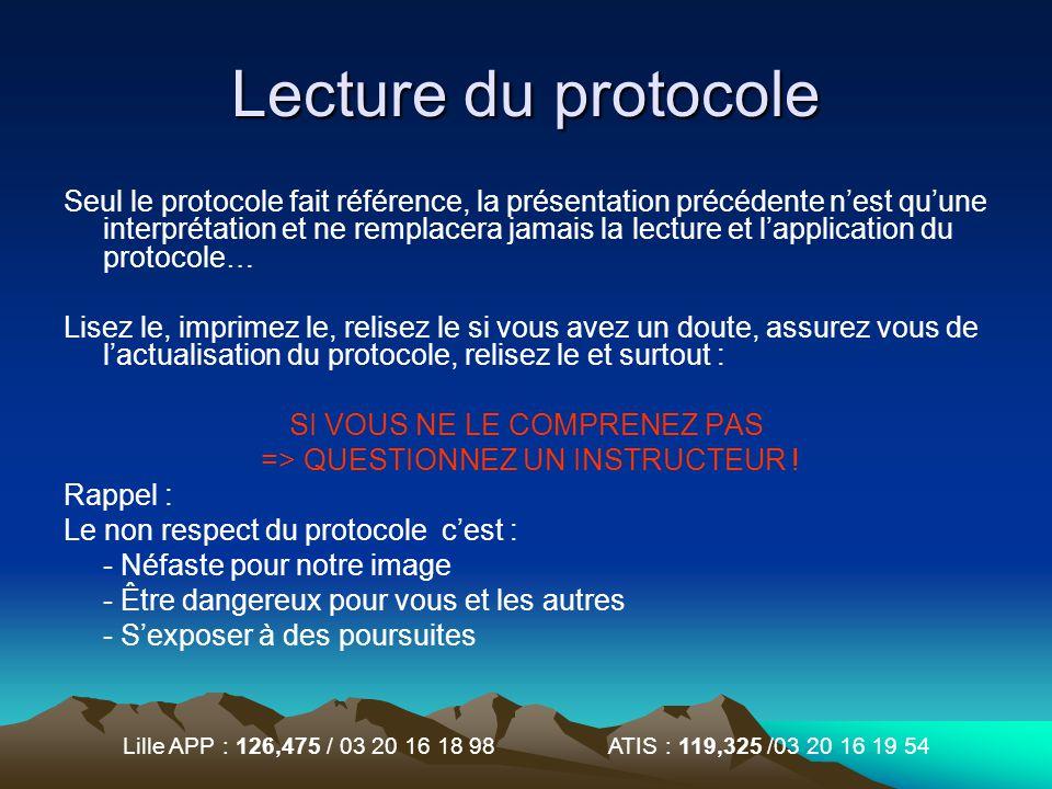 Lille APP : 126,475 / 03 20 16 18 98 ATIS : 119,325 /03 20 16 19 54 Lecture du protocole Seul le protocole fait référence, la présentation précédente