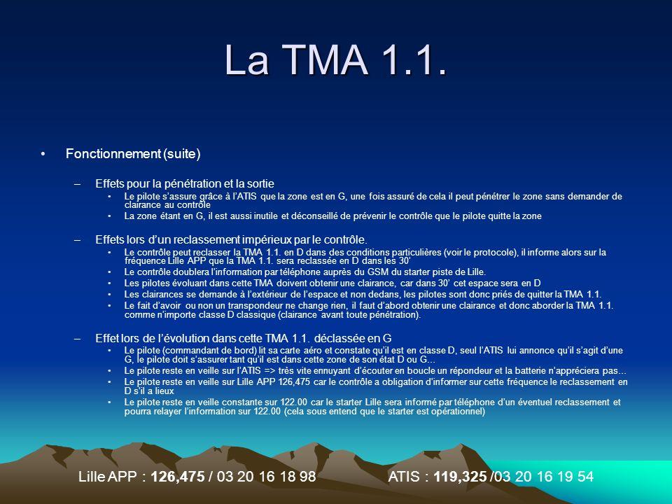 Lille APP : 126,475 / 03 20 16 18 98 ATIS : 119,325 /03 20 16 19 54 La TMA 1.1. Fonctionnement (suite) –Effets pour la pénétration et la sortie Le pil