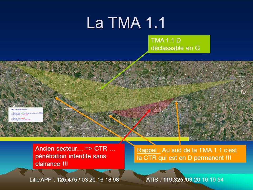 Lille APP : 126,475 / 03 20 16 18 98 ATIS : 119,325 /03 20 16 19 54 La TMA 1.1 Ancien secteur… => CTR … pénétration interdite sans clairance !!! TMA 1