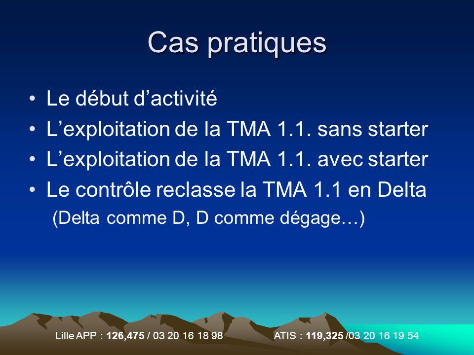 Lille APP : 126,475 / 03 20 16 18 98 ATIS : 119,325 /03 20 16 19 54 Cas pratiques Le début dactivité Lexploitation de la TMA 1.1. sans starter Lexploi