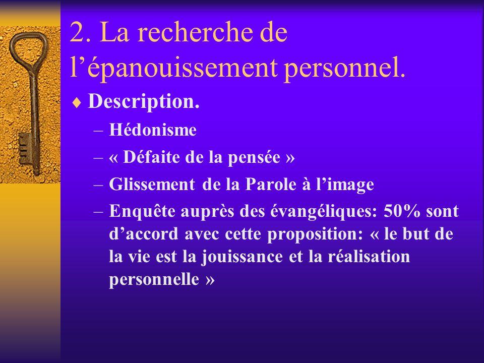 2. La recherche de lépanouissement personnel. Description. –Hédonisme –« Défaite de la pensée » –Glissement de la Parole à limage –Enquête auprès des