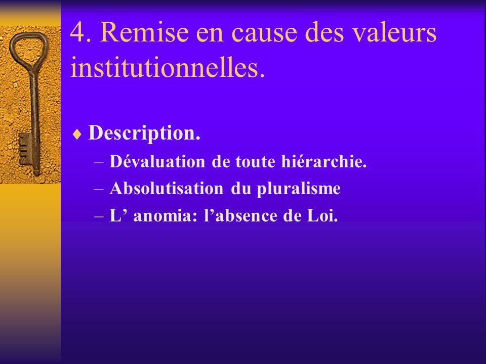 4. Remise en cause des valeurs institutionnelles. Description. –Dévaluation de toute hiérarchie. –Absolutisation du pluralisme –L anomia: labsence de
