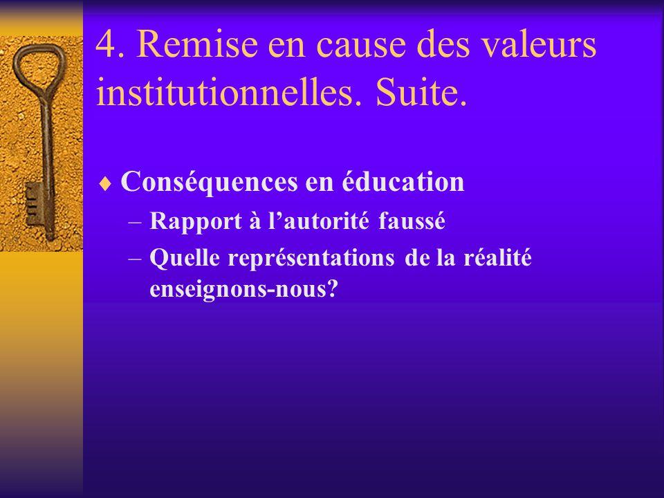 4. Remise en cause des valeurs institutionnelles. Suite. Conséquences en éducation –Rapport à lautorité faussé –Quelle représentations de la réalité e