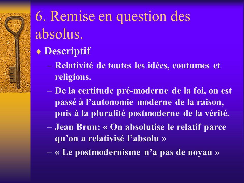 6. Remise en question des absolus. Descriptif –Relativité de toutes les idées, coutumes et religions. –De la certitude pré-moderne de la foi, on est p