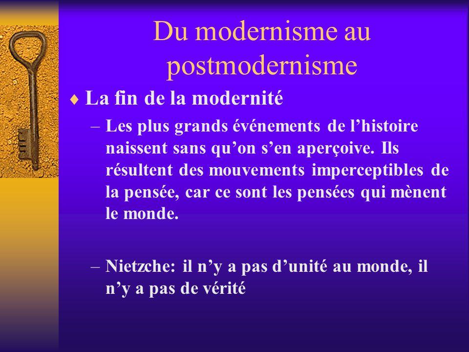 Du modernisme au postmodernisme La fin de la modernité –Les plus grands événements de lhistoire naissent sans quon sen aperçoive. Ils résultent des mo