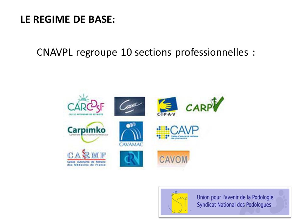 LE REGIME DE BASE: CNAVPL regroupe 10 sections professionnelles :