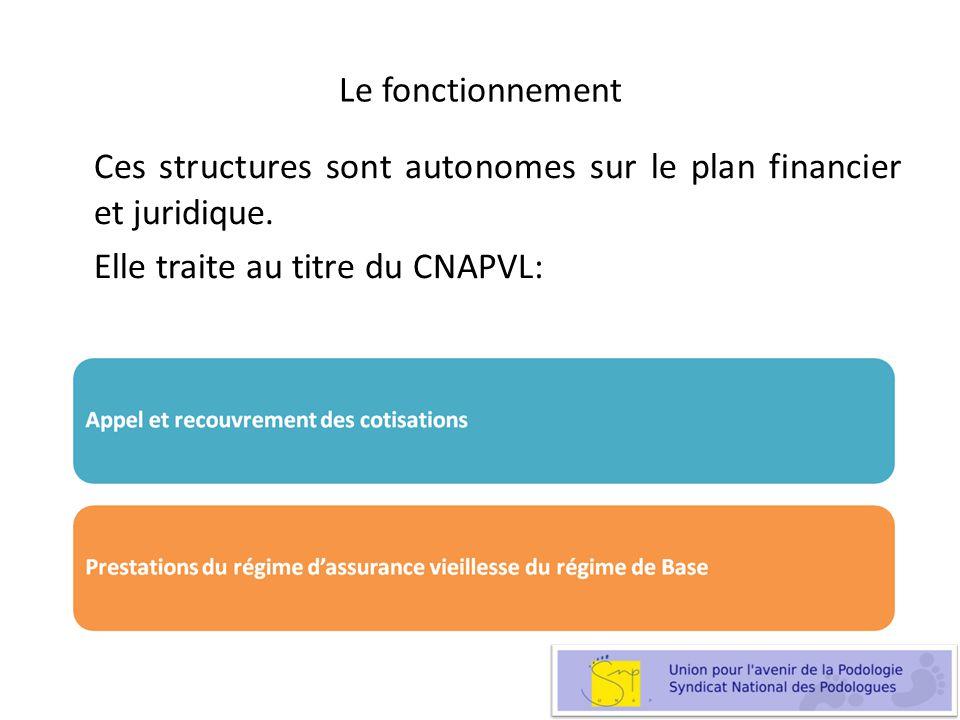 Le fonctionnement Ces structures sont autonomes sur le plan financier et juridique. Elle traite au titre du CNAPVL: