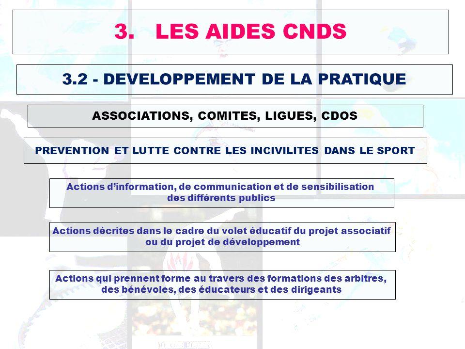 3. LES AIDES CNDS 3.2 - DEVELOPPEMENT DE LA PRATIQUE ASSOCIATIONS, COMITES, LIGUES, CDOS PREVENTION ET LUTTE CONTRE LES INCIVILITES DANS LE SPORT Acti