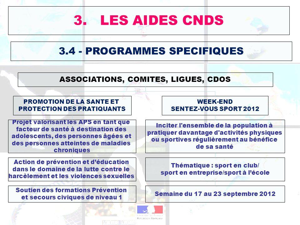 3.4 - PROGRAMMES SPECIFIQUES ASSOCIATIONS, COMITES, LIGUES, CDOS 3. LES AIDES CNDS Inciter l'ensemble de la population à pratiquer davantage d'activit