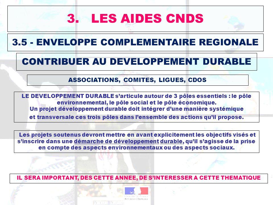 3.5 - ENVELOPPE COMPLEMENTAIRE REGIONALE ASSOCIATIONS, COMITES, LIGUES, CDOS 3. LES AIDES CNDS CONTRIBUER AU DEVELOPPEMENT DURABLE Les projets soutenu