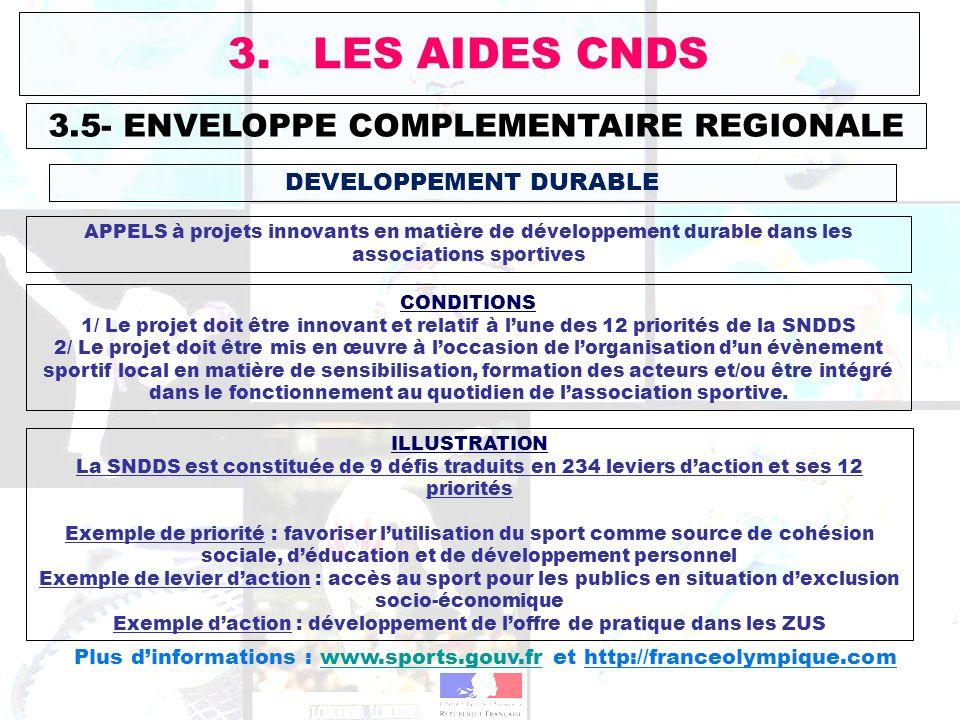 3.5- ENVELOPPE COMPLEMENTAIRE REGIONALE 3. LES AIDES CNDS DEVELOPPEMENT DURABLE APPELS à projets innovants en matière de développement durable dans le