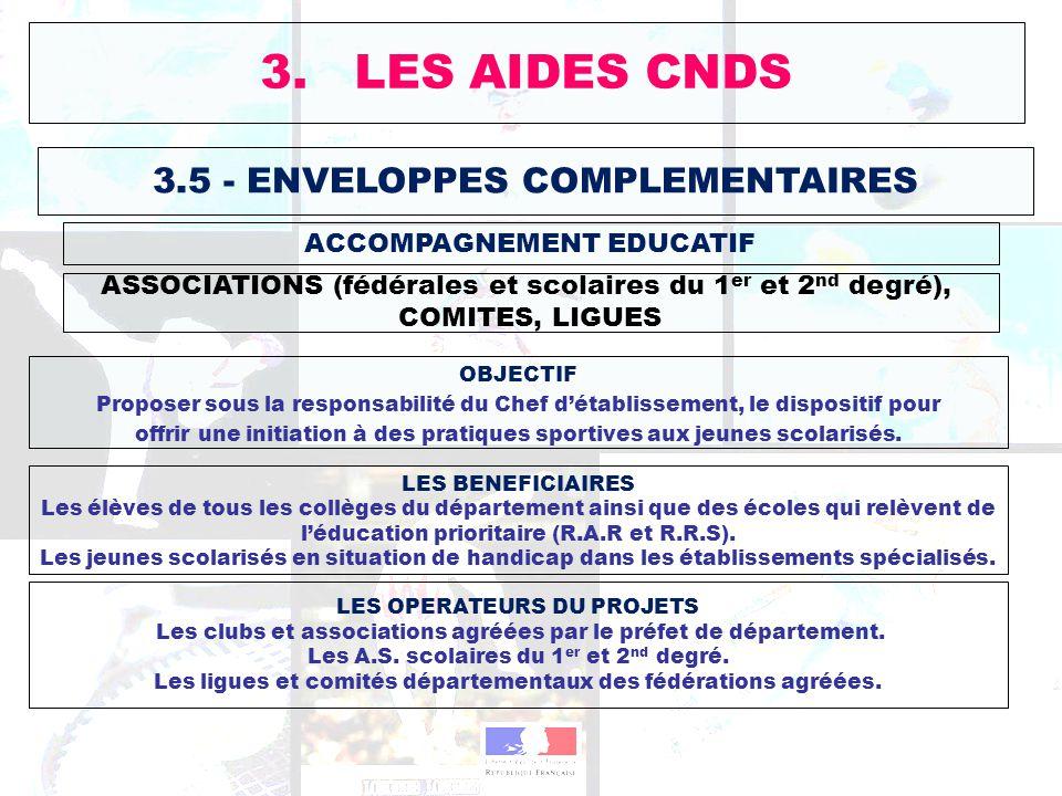 3.5 - ENVELOPPES COMPLEMENTAIRES ASSOCIATIONS (fédérales et scolaires du 1 er et 2 nd degré), COMITES, LIGUES 3. LES AIDES CNDS ACCOMPAGNEMENT EDUCATI