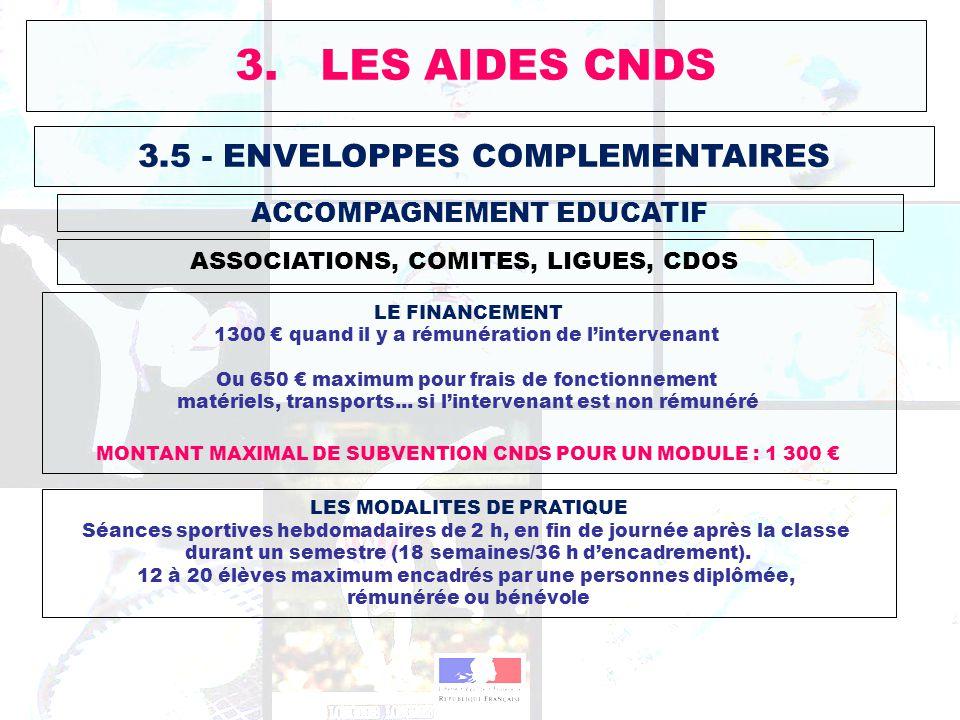 3.5 - ENVELOPPES COMPLEMENTAIRES ASSOCIATIONS, COMITES, LIGUES, CDOS 3. LES AIDES CNDS ACCOMPAGNEMENT EDUCATIF LE FINANCEMENT 1300 quand il y a rémuné