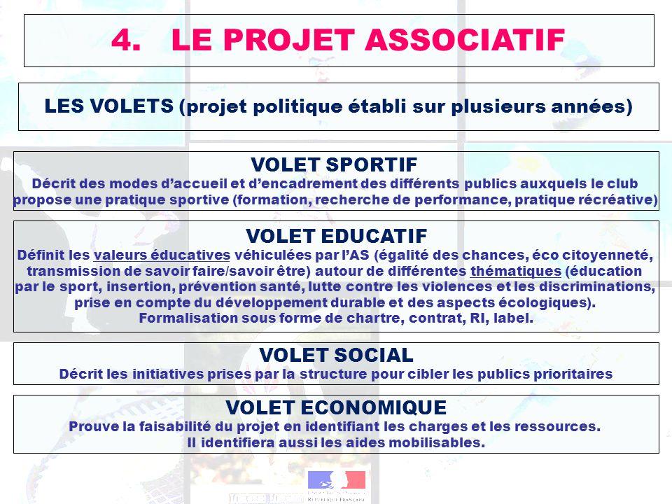 LES VOLETS (projet politique établi sur plusieurs années) 4. LE PROJET ASSOCIATIF VOLET SPORTIF Décrit des modes daccueil et dencadrement des différen