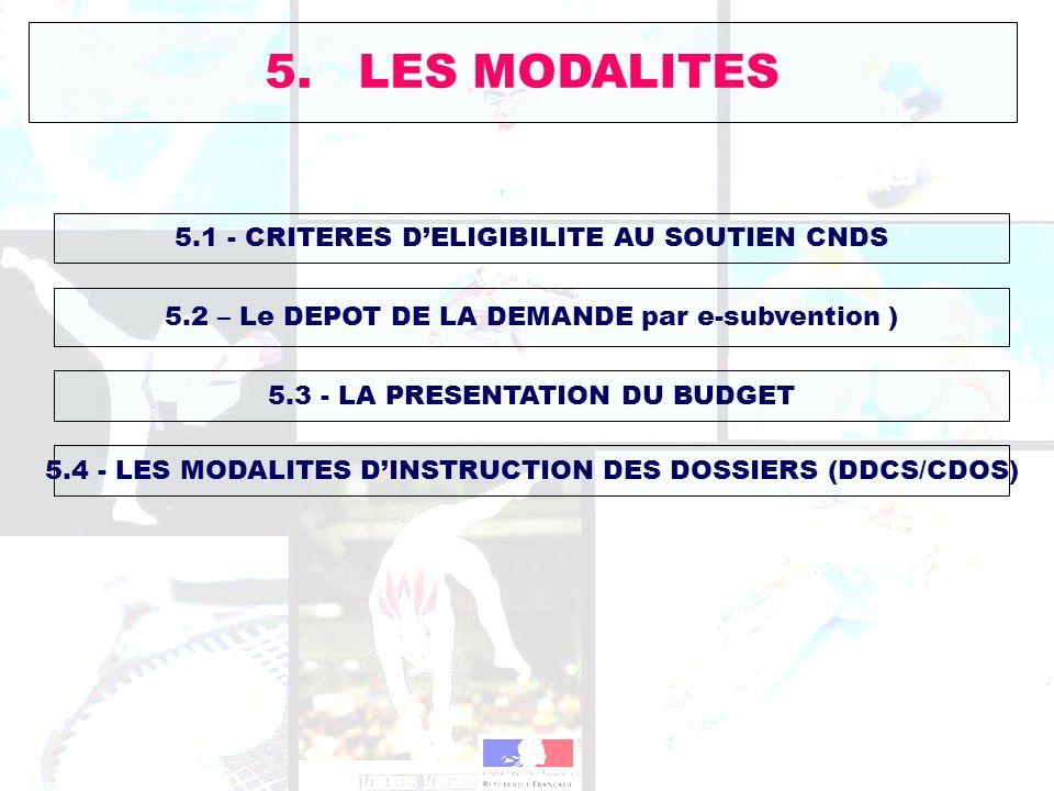 5. LES MODALITES 5.1 - CRITERES DELIGIBILITE AU SOUTIEN CNDS 5.2 – Le DEPOT DE LA DEMANDE par e-subvention ) 5.3 - LA PRESENTATION DU BUDGET 5.4 - LES