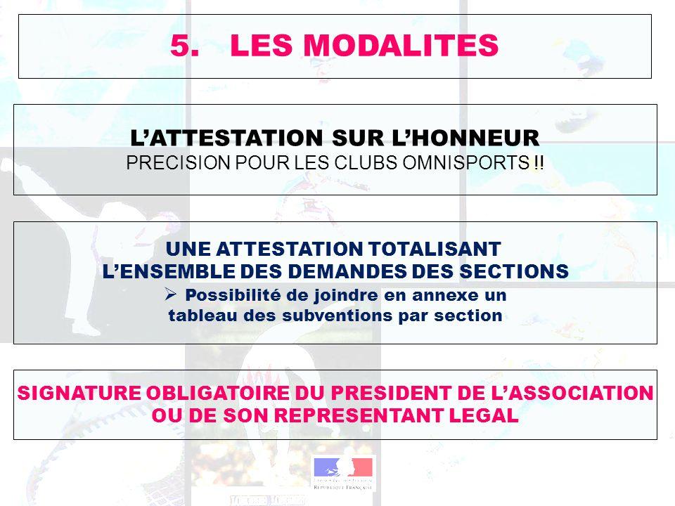 5. LES MODALITES LATTESTATION SUR LHONNEUR PRECISION POUR LES CLUBS OMNISPORTS !! UNE ATTESTATION TOTALISANT LENSEMBLE DES DEMANDES DES SECTIONS Possi