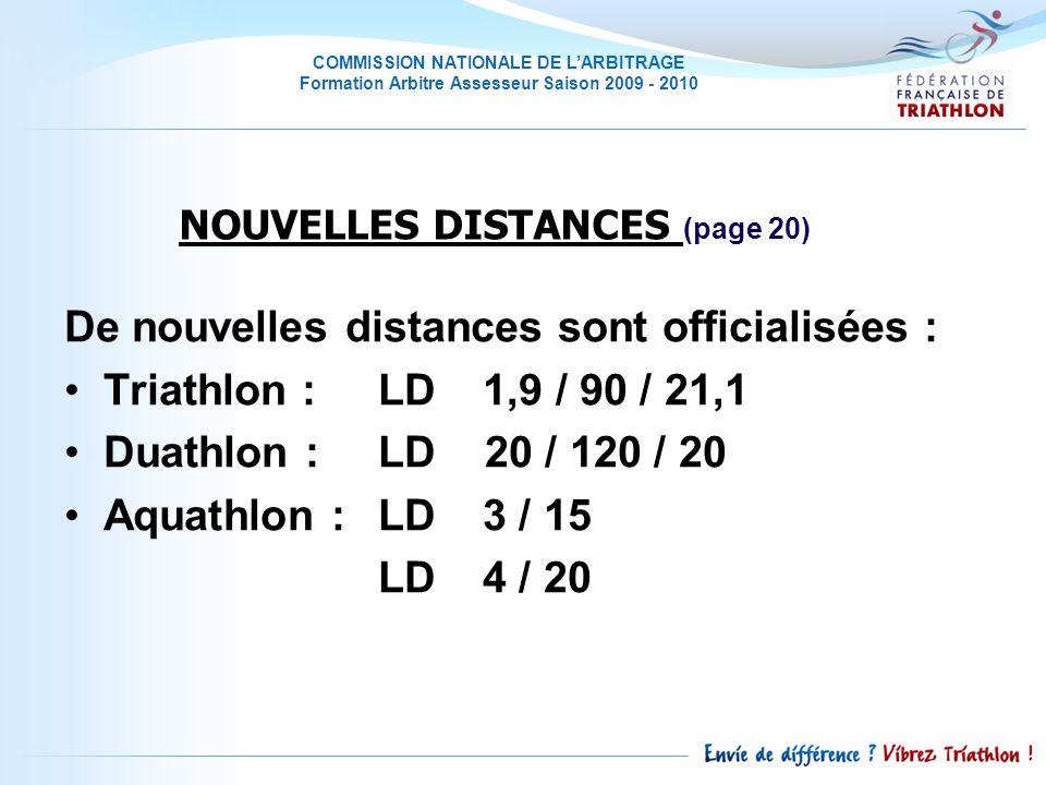 COMMISSION NATIONALE DE LARBITRAGE Formation Arbitre Assesseur Saison 2009 - 2010 De nouvelles distances sont officialisées : Triathlon : LD 1,9 / 90 / 21,1 Duathlon : LD 20 / 120 / 20 Aquathlon : LD 3 / 15 LD 4 / 20 NOUVELLES DISTANCES (page 20)