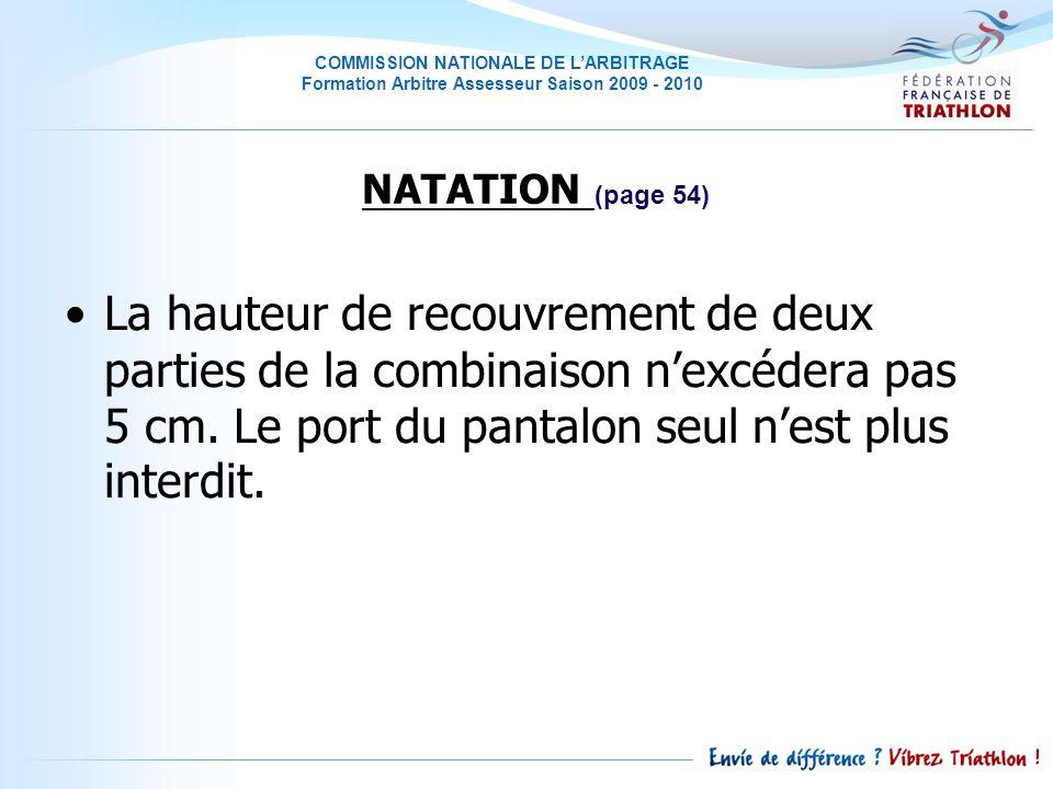 COMMISSION NATIONALE DE LARBITRAGE Formation Arbitre Assesseur Saison 2009 - 2010 La hauteur de recouvrement de deux parties de la combinaison nexcédera pas 5 cm.
