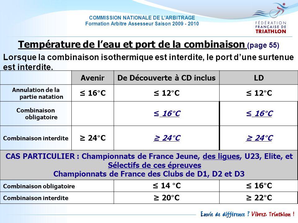 COMMISSION NATIONALE DE LARBITRAGE Formation Arbitre Assesseur Saison 2009 - 2010 Lorsque la combinaison isothermique est interdite, le port dune surtenue est interdite.