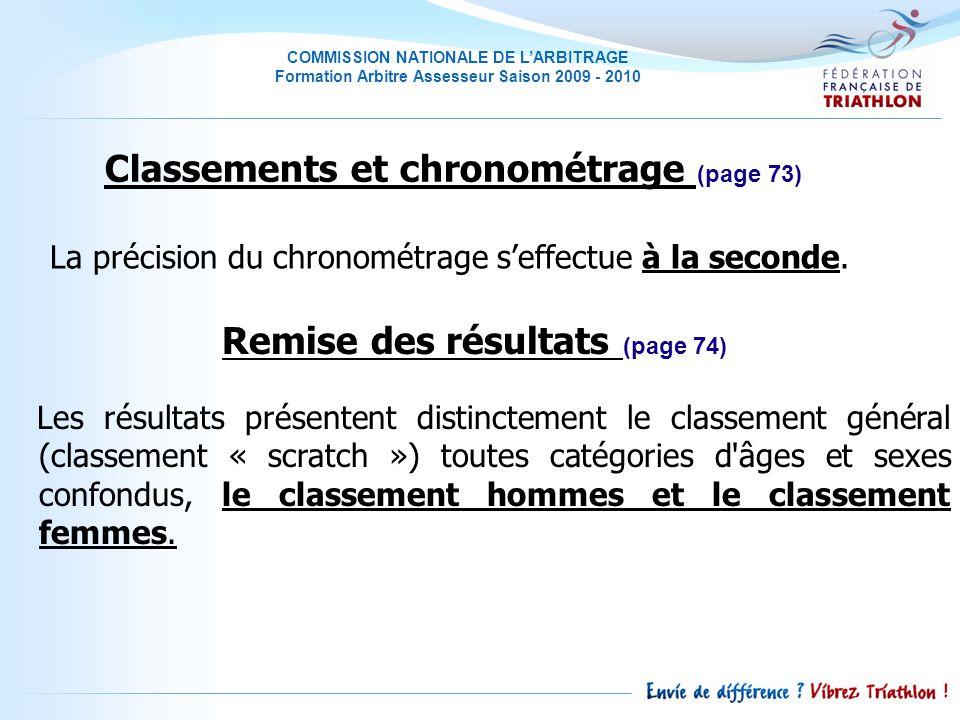 COMMISSION NATIONALE DE LARBITRAGE Formation Arbitre Assesseur Saison 2009 - 2010 La précision du chronométrage seffectue à la seconde.