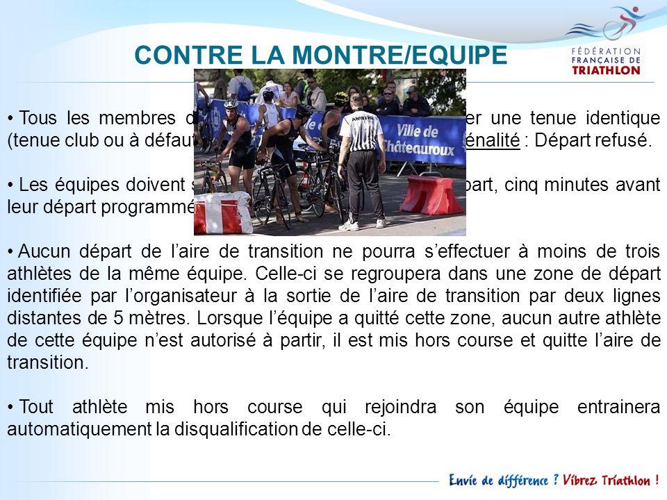 CONTRE LA MONTRE/EQUIPE Tous les membres dune même équipe doivent porter une tenue identique (tenue club ou à défaut tee-shirt de la même couleur).