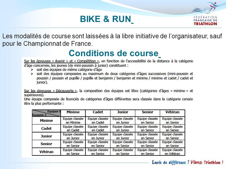 Les modalités de course sont laissées à la libre initiative de lorganisateur, sauf pour le Championnat de France. BIKE & RUN Conditions de course