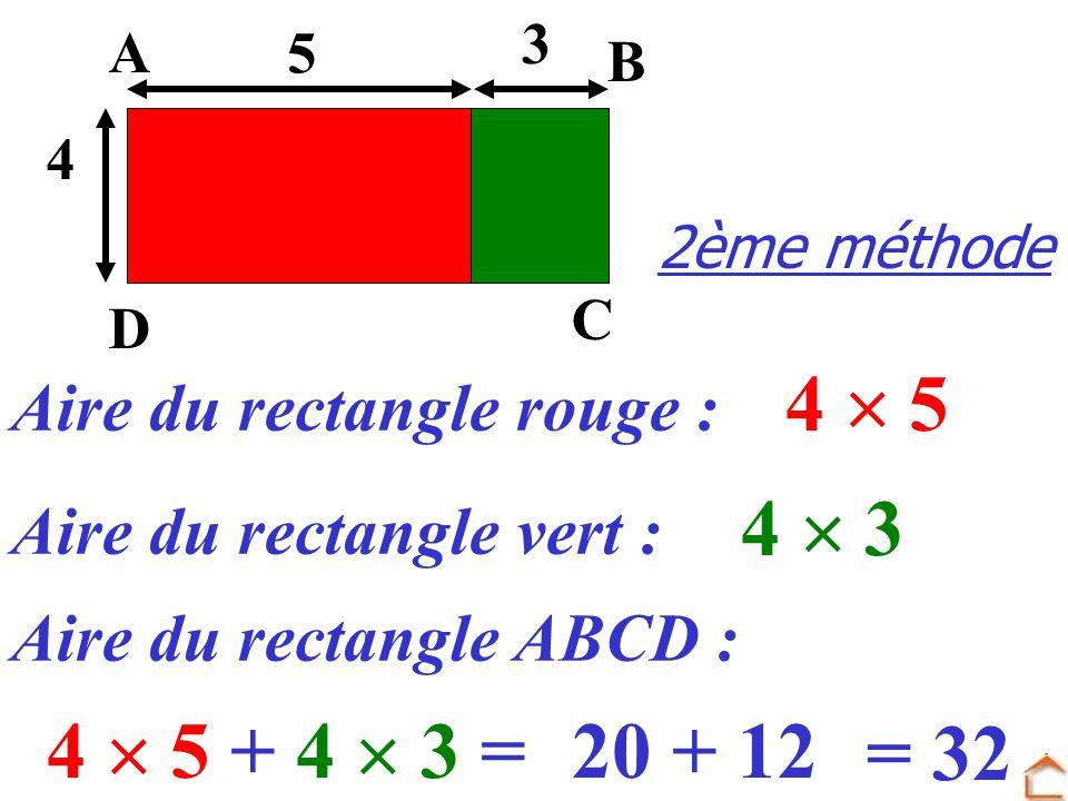 Aire du rectangle rouge : Aire du rectangle ABCD : 4 5 4 5 + 4 3 = Aire du rectangle vert : 4 3 2ème méthode 3 4 D C B A 5 20 + 12 = 32