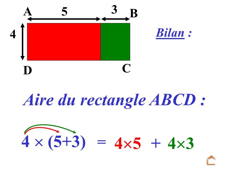 Bilan : Aire du rectangle ABCD : = 3 4 D C B A 5 4 (5+3) 4 5 + 4 3