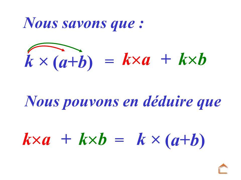 = k a + k b k (a+b)(a+b) Nous savons que : Nous pouvons en déduire que k a + k b = k (a+b)