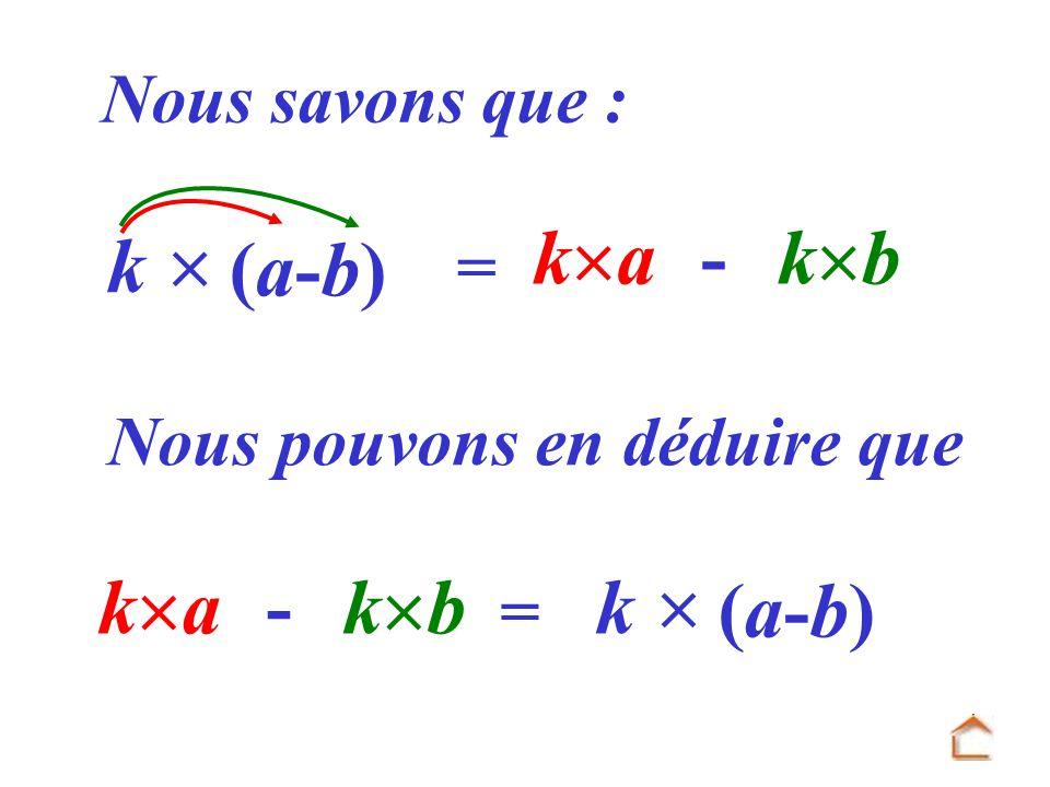 = k a - k b k (a-b)(a-b) Nous savons que : Nous pouvons en déduire que k a - k b = k (a-b)