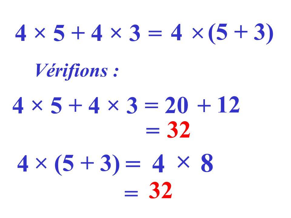 4 × 5 + 4 × 3 = 4 (5 + 3) Vérifions : 4 × 5 + 4 × 3 = 20 + 12 = 32 4 (5 + 3) = 4 8 = 32