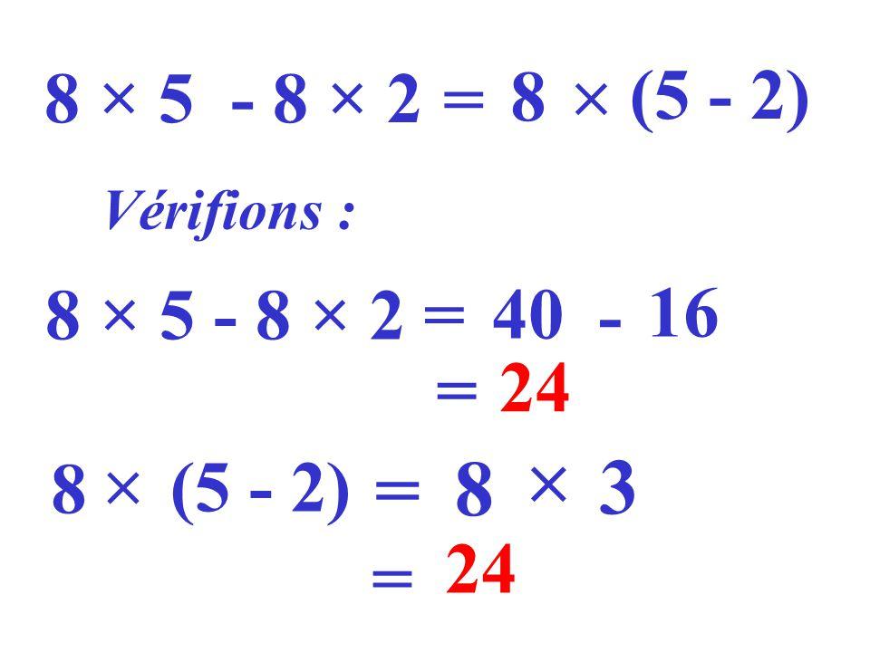 8 × 5 - 8 × 2 = 8 (5 - 2) Vérifions : 8 × 5 - 8 × 2 = 40 - 16 = 24 8 (5 - 2) = 8 3 = 24