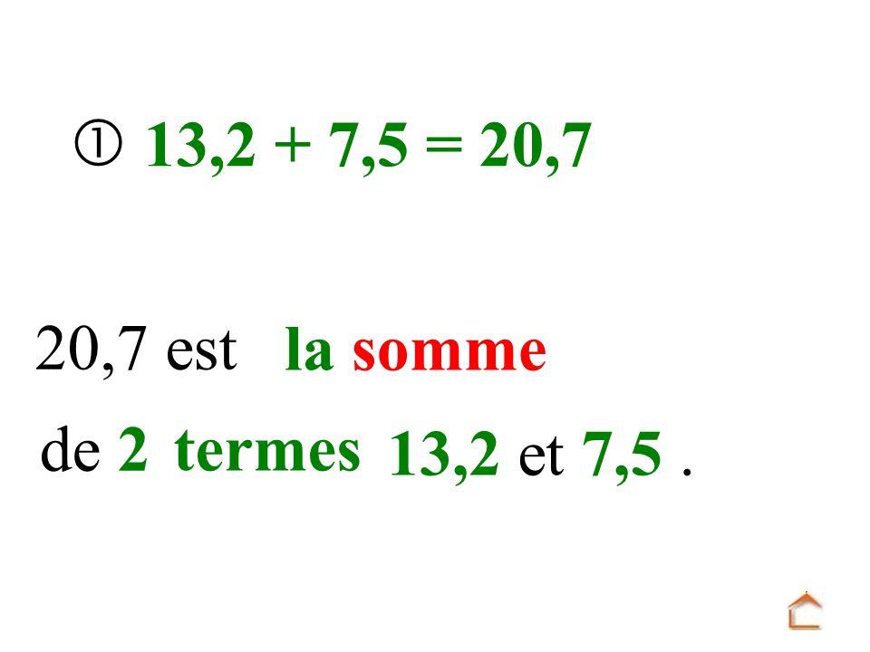 13,2 + 7,5 = 20,7 20,7 est la somme de 2 termes 13,2 et 7,5.