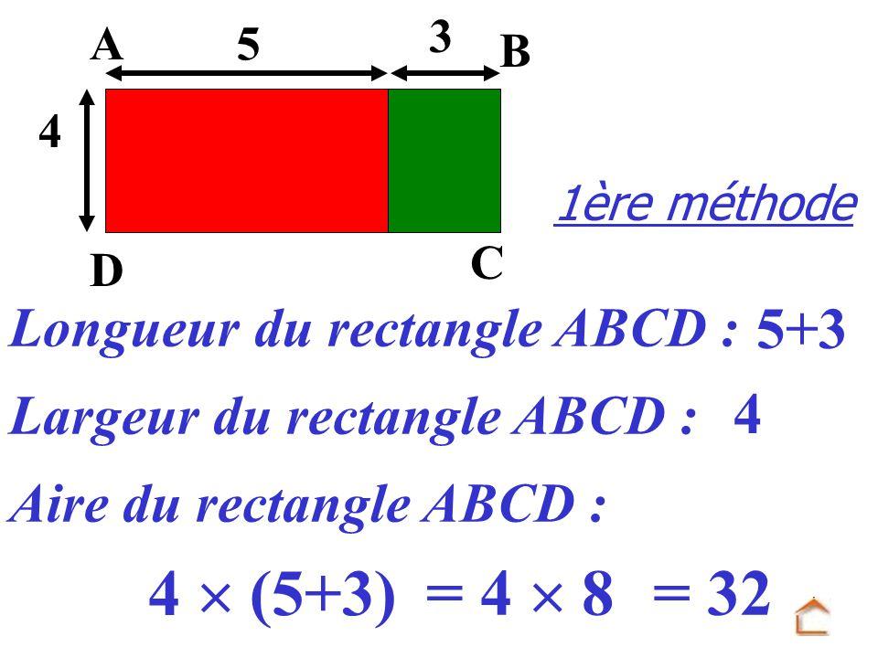 1ère méthode Largeur du rectangle ABCD : Longueur du rectangle ABCD : Aire du rectangle ABCD : 5+3 4 4 (5+3) 3 4 D C B A 5 = 32= 4 8