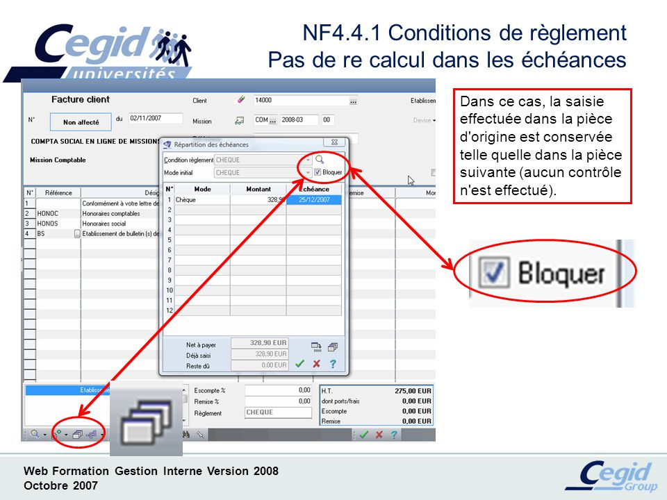 Web Formation Gestion Interne Version 2008 Octobre 2007 NF4.5.1 Saisie pièces commerciales Diverses nouveautés