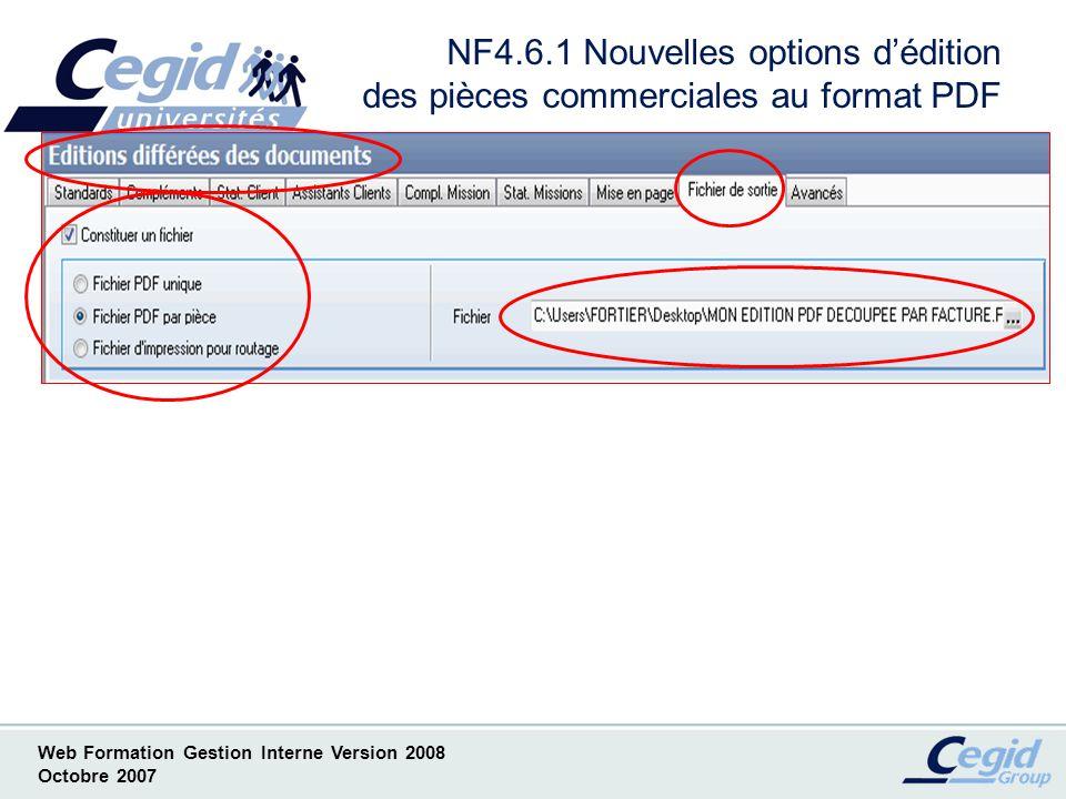 Web Formation Gestion Interne Version 2008 Octobre 2007 NF4.7.1 Consultation de lhistorique client dans une pièce