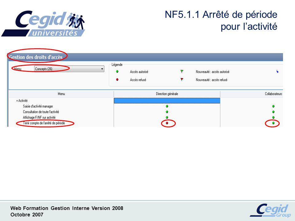 Web Formation Gestion Interne Version 2008 Octobre 2007 NF5.2.1 Visa dactivité Mise en place automatique Achats Factures fournisseurs E-Activité Intégration temps Saisie décentralisée Excel