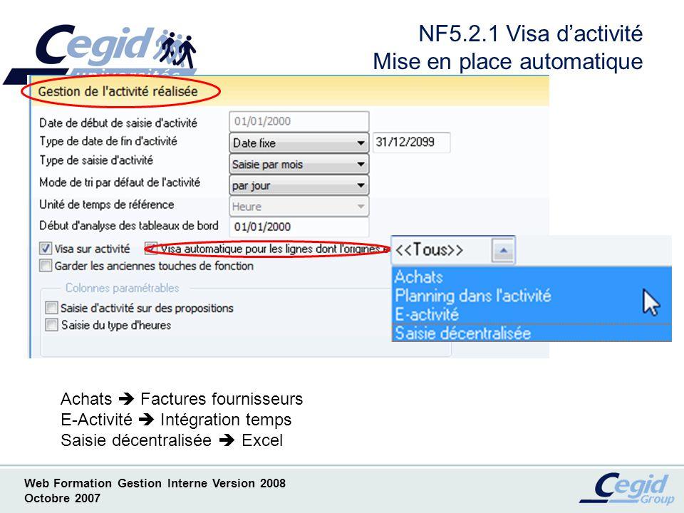 Web Formation Gestion Interne Version 2008 Octobre 2007 NF5.3.1 Consultation activité Concept dactivité manager